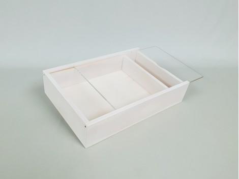 Caja para fotógrafos blanca c/tapa metacrilato Ref.P1454DBM