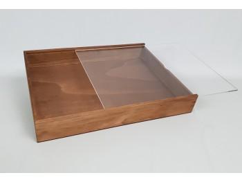 Caja envejecida para Album 43x33x5 cm. Tapa Metacrilato Ref.PC8PC1S