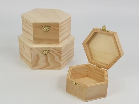 Cajas de madera hexagonal varias medidas Ref.P1171B