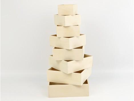 Cajas de madera matrioskas 8 uds. sin tapa Ref.OP623604