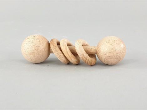 Sonajero tres anillas de madera natural Ref.CCJD71N