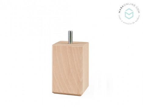 Beech wood leg square beech 8x5x5 cm. Ref.ST855