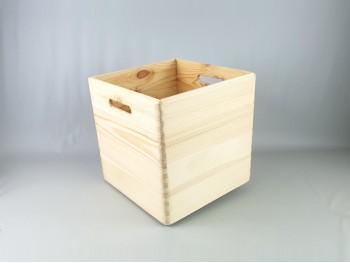 Caja bandeja pino con asas 30x30x30 cm. Ref.A2017