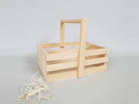 Caja cesta de madera 24x18,5x20 cm. Ref.AR11331