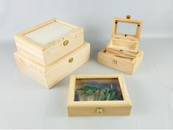 Cajas con tapa de cristal 3 medidas Ref.P1191