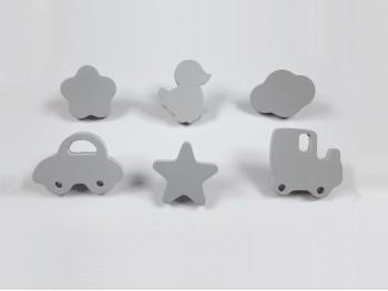 Tiradores infantiles 5 cm. GRIS