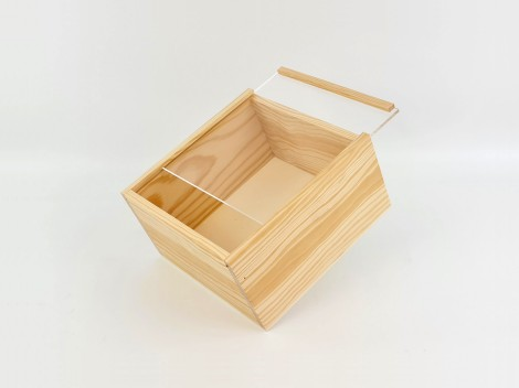 Pine wood box 22x22x12 cm. with Methacrylate cover frame Ref.99M