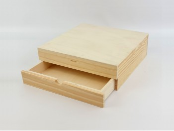 Natural Box 34x34x11 cm. with drawer and divisions Ref.P1454C9B2