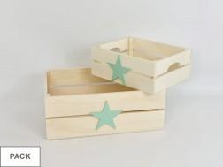 Pack 2 Cajas cesta con asas Estrella color Ref.PackAR1653E