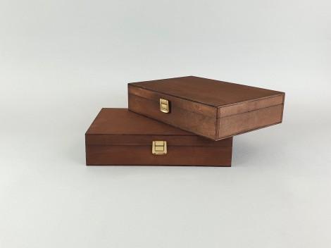 Caja de madera Envejecida 26x19x6 cm. c/broche y división Ref.P1454C6FT