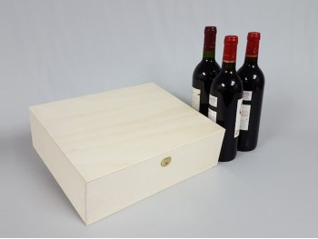 Caja 3 Botellas de vino Bisagra y Broche