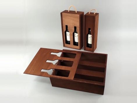 Caja envejecida para botellas Tapa Corredera silueta Ref. BotTCTR