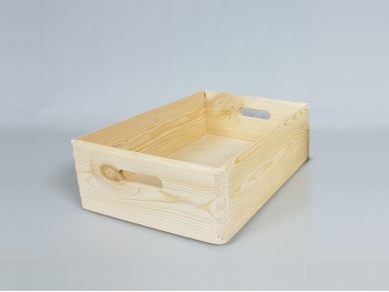 Caja Bandeja pino con asas 40x30x13,5 cm. Ref.A2015