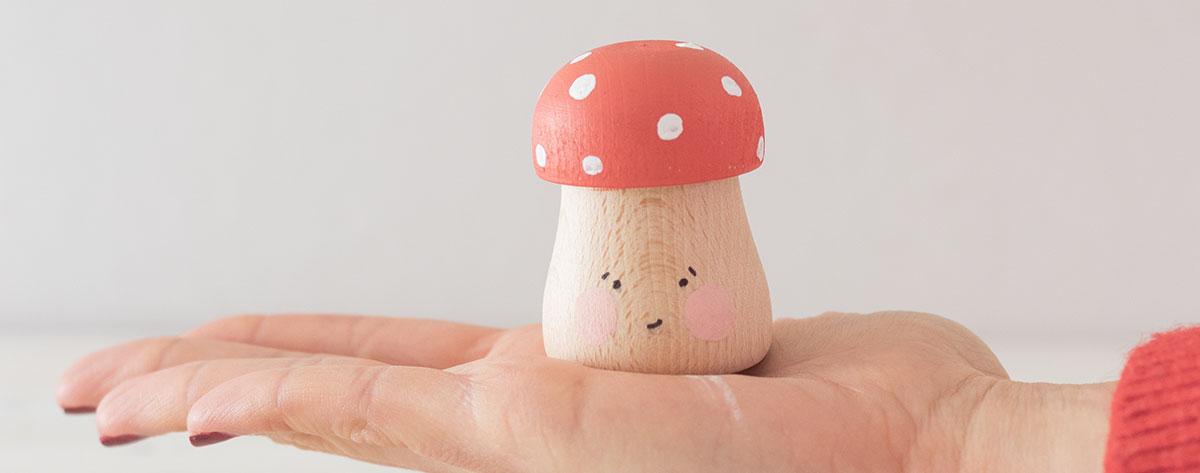 DIY setas de madera pintadas a mano