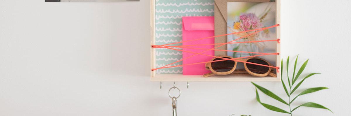 DIY organizador de pared con caja de madera