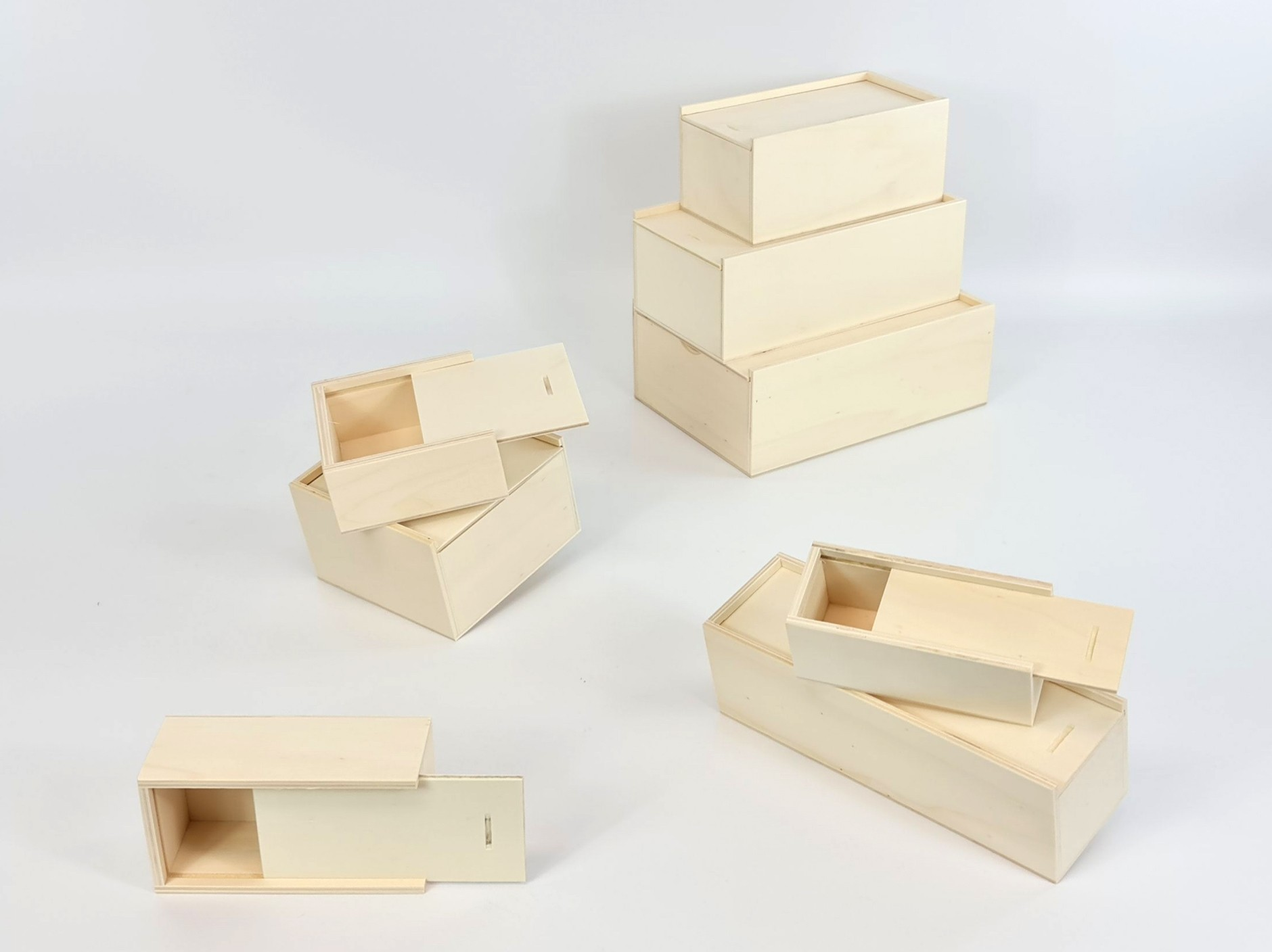 Wooden box with sliding lid different sizes