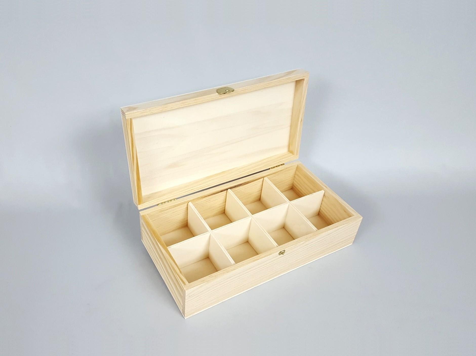 Caja de madera para Té 8 divisiones c/bisagra y broche Ref.P35C47C