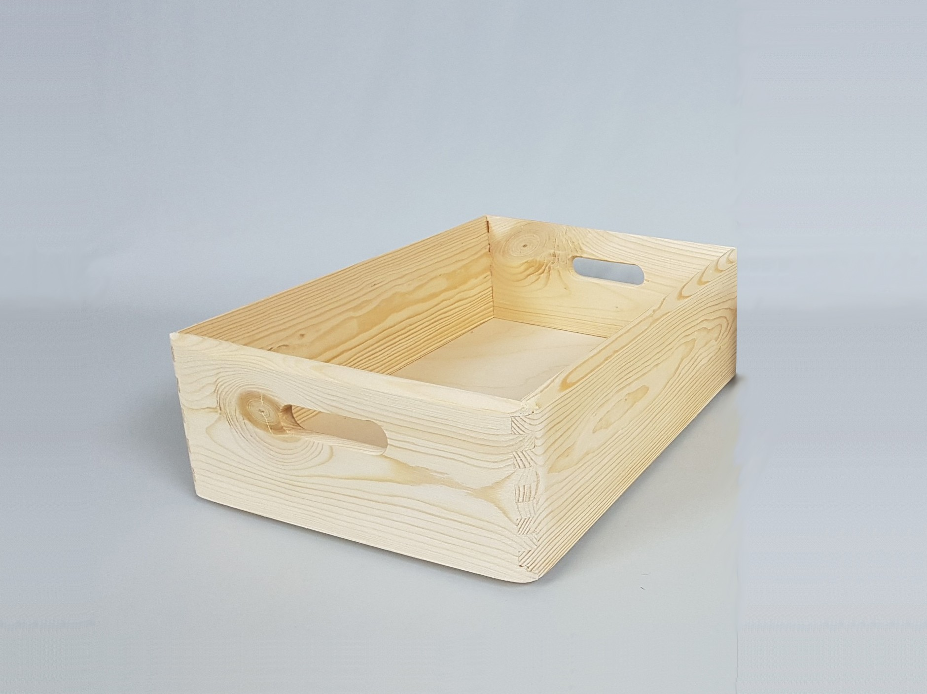 Pine tray box with handles 40x30x13.5 cm. Ref.A2015